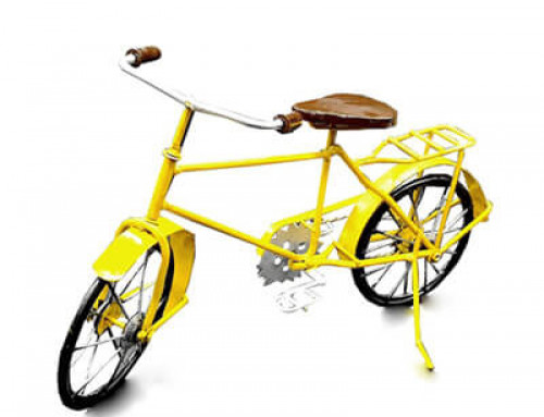 Vintage Metal Bicycle Model Decor Yellow
