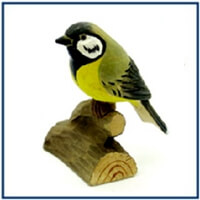 hand carved wood bird great tit